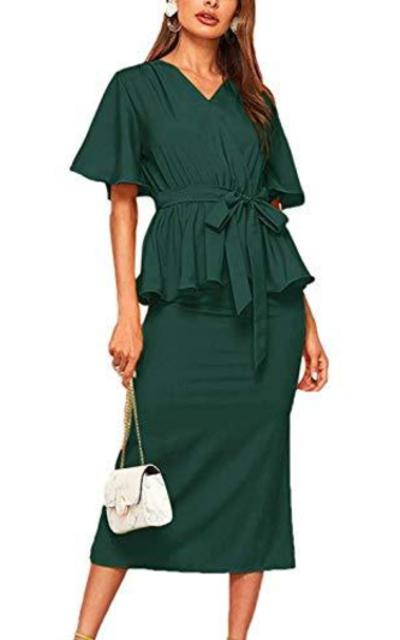 MAKEMECH Blouse with Split Hem Skirt 2 Piece Outfit Set