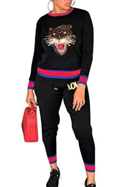 Womens 2 Piece Tiger Sweatsuits Set