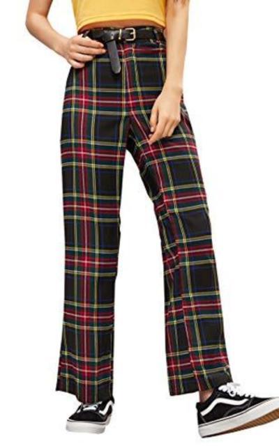 WDIRARA High Waist Plaid Long Wide Leg Pants