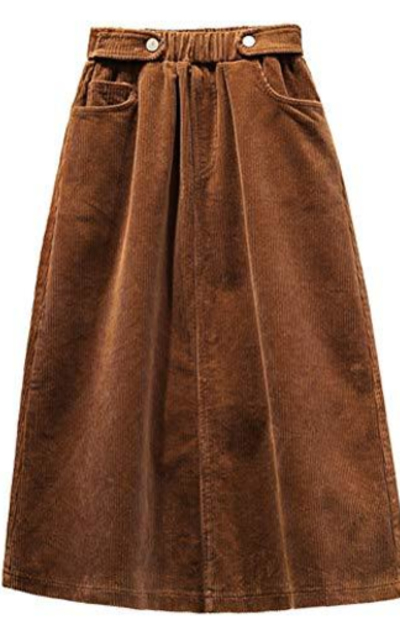 IDEALSANXUN Elastic Waist A-line Corduroy Midi Skirt