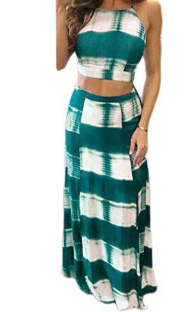 YiYaYo Crop Top Maxi Skirt Set