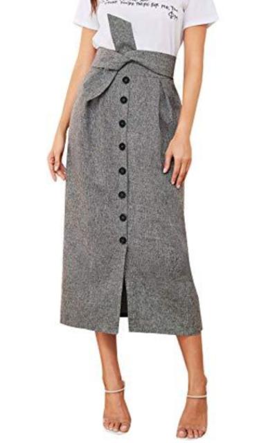 Verdusa Tie Waist Button Front Pleated Midi Skirt