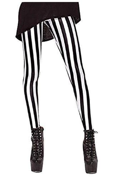 QZUnique Vertical Black and White Stripe Leggings