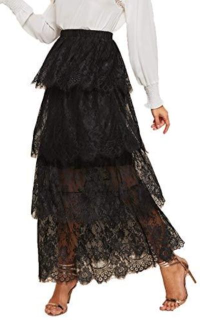SOLY HUX Layered Eyelet Lace Ruffle Maxi Skirt