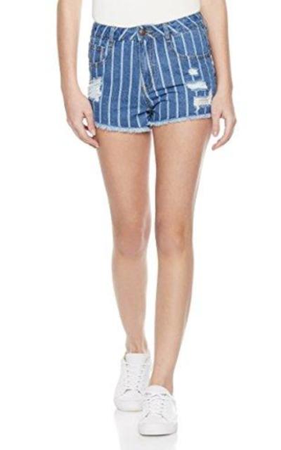 Lily Parker Stripe Denim Shorts