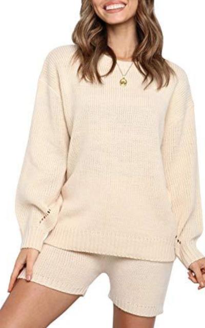Ermonn Knit Pullover Sweatsuit 2 Piece Short Sweater Outfits Set