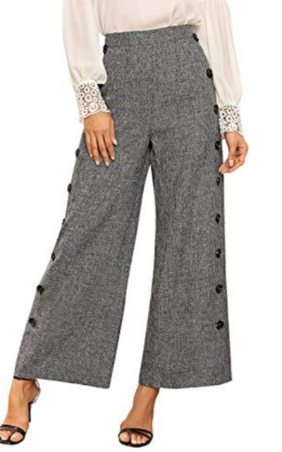 WDIRARA Mid Waist Plain Button Side Wide Leg Pants