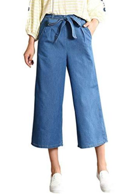 Gihuo Elastic Waist Denim Wide Leg Jeans