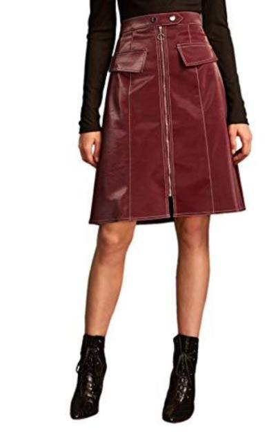 WDIRARA Zip Front Faux Leather Midi Skirt