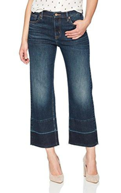 Denim Bloom High Rise Wide Leg Released Hem Jean