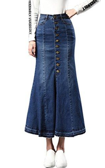 Chouyatou Button Denim Mermaid Skirt
