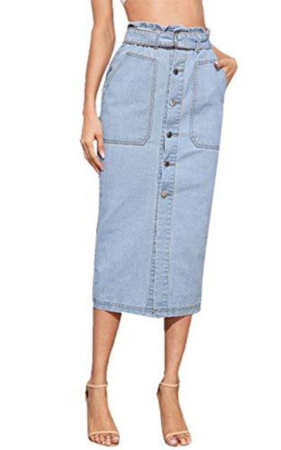 SweatyRocks Button Front Midi Denim Skirt with Belt