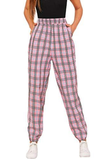 WDIRARA Plaid Elastic Sweatpants
