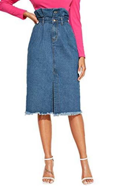 SweatyRocks Paperbag  Denim Skirt