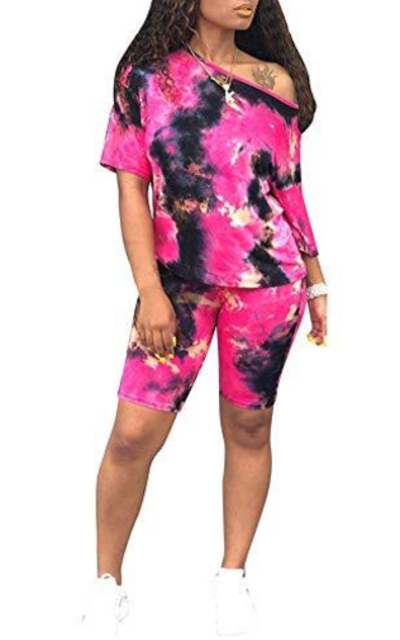 Two Piece Shorts Set Tie Dye