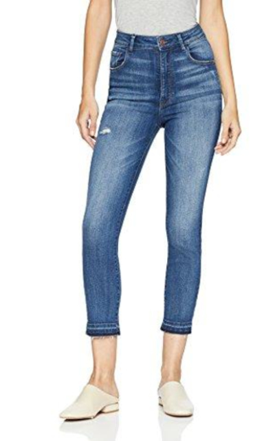 Madison Denim Bristol Ultra High Rise Slim-Straight Crop with Released Hem