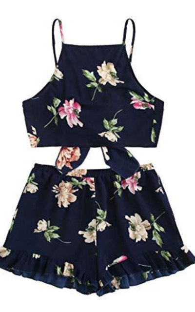 SweatyRocks  2 Piece FloralCrop Top and Shorts Set