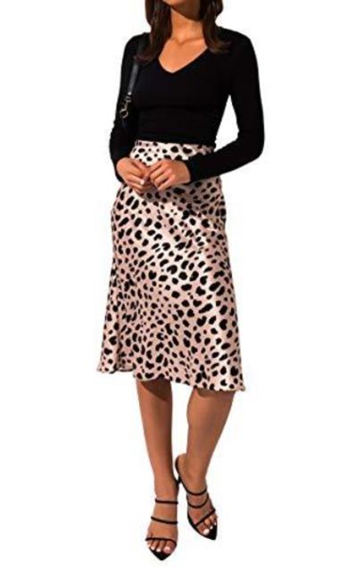 AKIRA Elastic Waistband Midi Satin Skirt