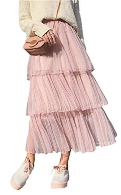 A Line Tulle Tiered Layered Midi Skirt