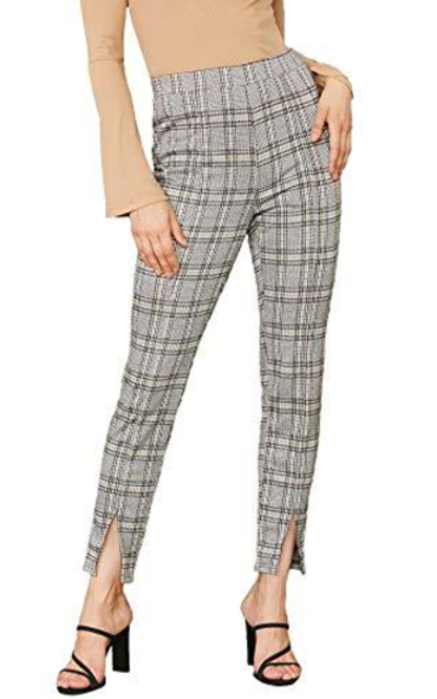 SweatyRocks Plaid Work Elastic Waist Skinny High Waist Pants