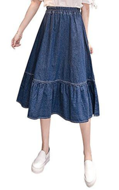Yimoon Flared Denim Skirt
