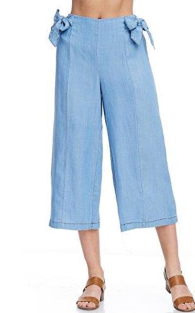 AD Denim Capri Culotte Pants w/Elastic Waist