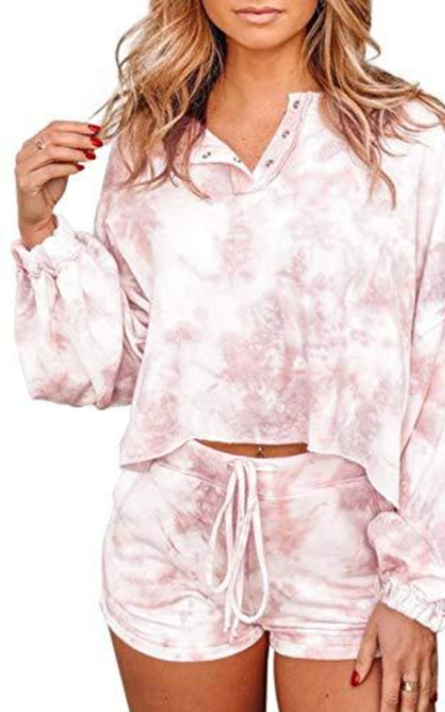 BLENCOT Summer Tie Dye Pajamas Set