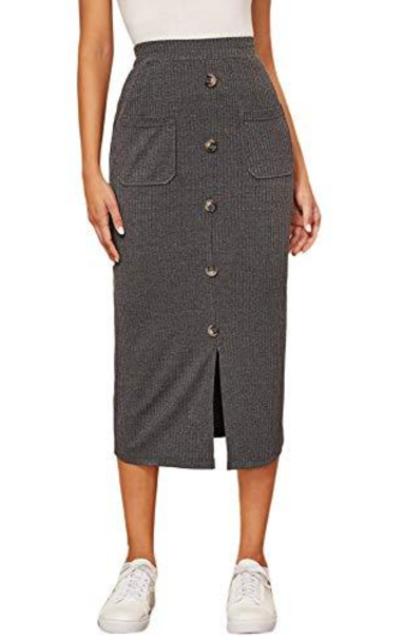 Verdusa Buttoned Elastic Waist Bodycon Midi Skirt
