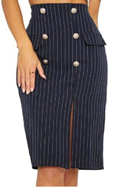 Stripe Cut Out Bodycon Pencil Skirt
