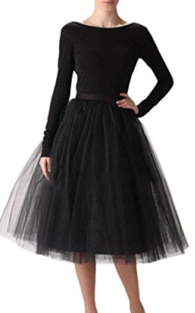 A Line Knee Length Tulle Party Skirt