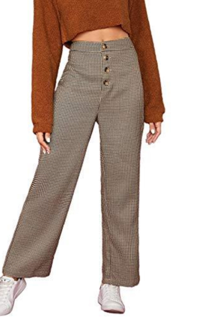 WDIRARA Plaid High Waist Button Front Straight Pants