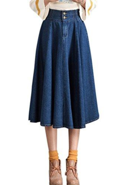 Tanming Elastic Waist Denim Skirt