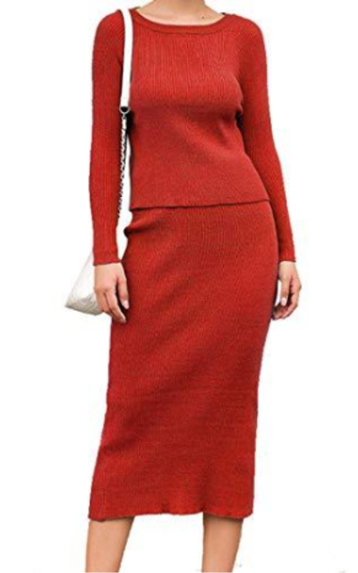 2 Piece Knit Sweater Dress Set
