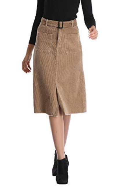 Uusollecy Corduroy Midi Skirt with Pockets