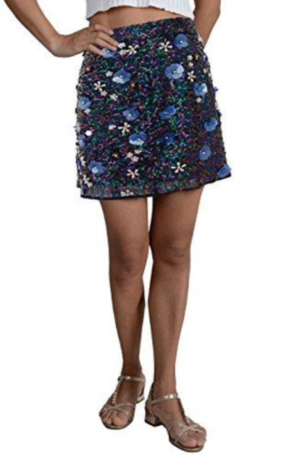 Anna-Kaci Sequin Mini Skirt with Beaded Flowers