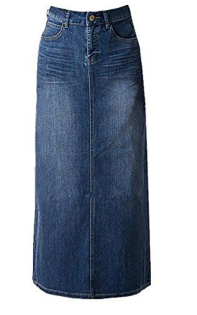 Women's Maxi Pencil Jean Skirt