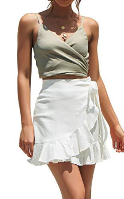 ChainJoy Ruffle Short Mini Skirt