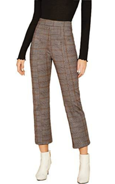 Milumia  Plaid High Waisted Straight Leg Crop Pants