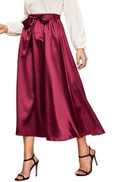 Verdusa Elastic Waist Satin Long Skirt