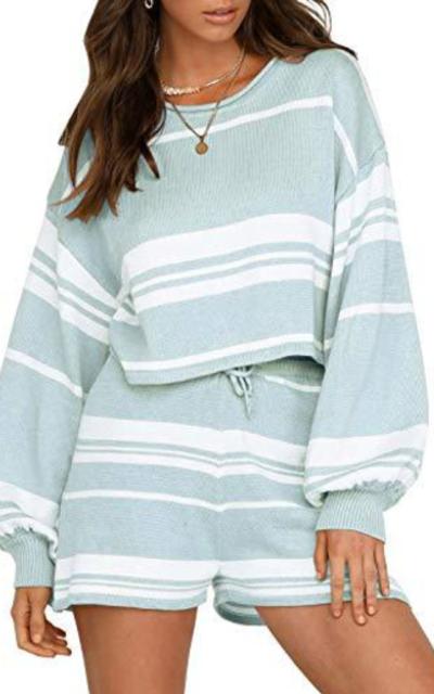 FISACE Stripe 2 Pieces Pullover Sweatsuit Set