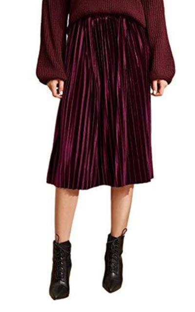 Floerns High Waist Solid Velvet Pleated Midi Skirt