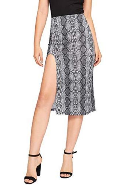 WDIRARA Snake Skin Print Split Side Pencil Skirt