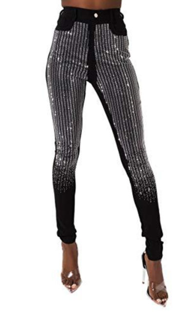 AKIRA High Waisted Stretch Knit Five Pocket Rhinestone Skinny Pant