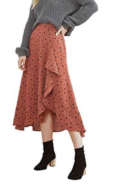 WDIRARA Polka Dot Print Ruffle Flare Asymmetrical Maxi Skirt