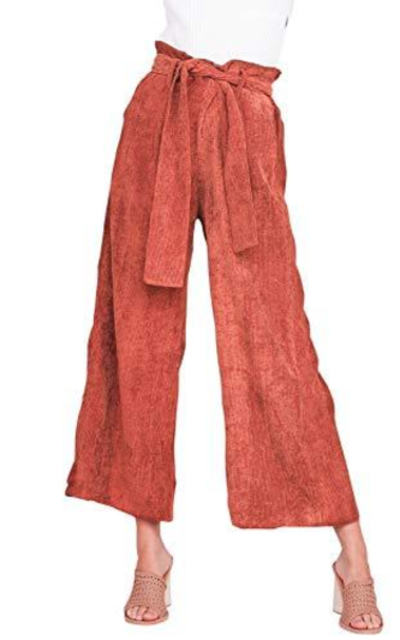 Fashiomo High Waist Corduroy Wide Leg Pants