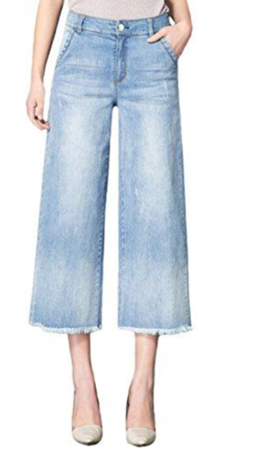 SUGIRLS Wide Leg Stretch Cropped Jeans