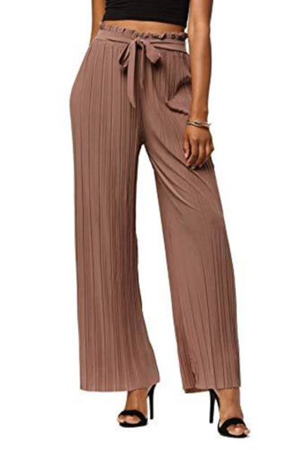 Paper Bag Wide Leg Pleated Palazzo Pants
