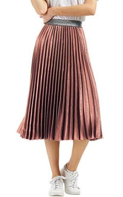 CHARTOU Elastic-Waist Accordion Metallic Skirt