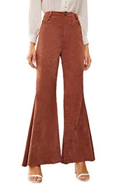 WDIRARA High Waist Flare Corduroy Pants