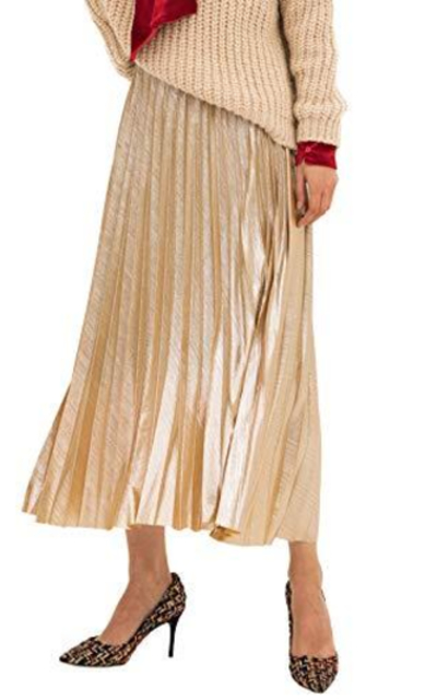 Amormio Glittery High-Waist Metallic Accordion Pleated Skirt